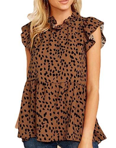 Desconocido GenericC Women Tops Casual Leopard Print Cap Sleeve Ruffle Neck Loose Babydoll...