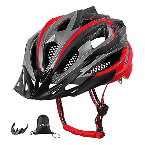 X-TIGER Casco da Bici,Ultraleggero Stabile Strada Montagna da Uomo Donna Ciclismo Casco di Bicicletta Casco Adulto Visiera Casco di Protezione Certificata CE-Rosso