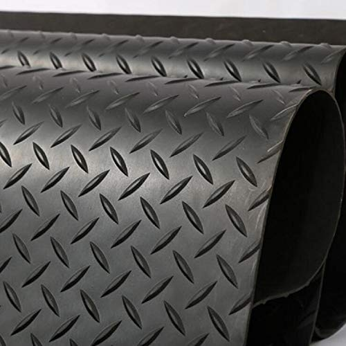 jxgzyy Rubber Floor Matting Garage Heavy Anti-Fatigue Mat 3.3ft x 16.4ft Rubber Protector Mats 3mm Thick Black Industrial Commercial Anti-Slip PVC Flooring Protection for Under Car 1M x 5M