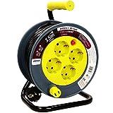 Orno AE-1339 Mini Tambor De Cable 15m con 4 tomas de corriente, soporte de metal y protección térmic (Amarillo)
