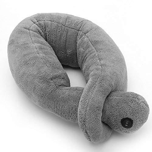 Almohada de masaje vibrante gris, Terapia de masaje eléctrica Almohada suave y cómoda para el cuello, Almohada en forma de U para el cuello Relajante Cuello Apoyo Travel Neck Pillow