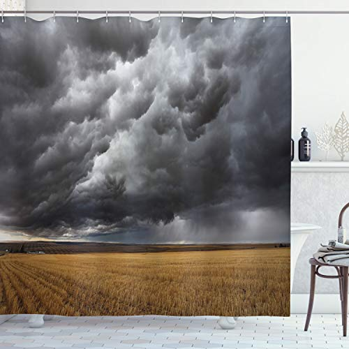 Ambesonne Landscape Shower Curtain, Thunderstorm Above The Fields Tornado Hurricane Image Weather Modern Country, Cloth Fabric Bathroom Decor Set with Hooks, 84″ Long Extra, Grey Yellow