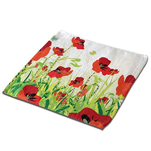 Bgejkos Juego de toallas de baño, 1 paquete para baño, hotel, spa, cocina, multiusos, para la punta de los dedos y los paños faciales, 33 x 33 cm, amapolas rojas