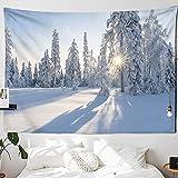 KHKJ Tapiz navideño con Chimenea y Nieve para Colgar en la Pared, Tapiz navideño para decoración del hogar, tapices con Estampado A8 150x130cm
