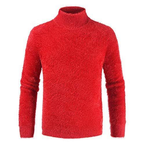Sweater Herren Strick Pullover Herren Feinstrick Hohem Kragen Trend Warme Herren Tops Neue Business Casual Schlank Jugend Bequeme Gestrickte Langarm Herren Plüsch Jumper E-Red M