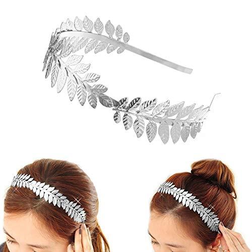Dusenly Vintage Leaf Tiara Diadema para el pelo de novia corona romana diosa hoja Boho banda para el pelo (plata)
