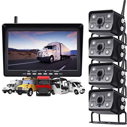 BaiTTang Kit de cámara de Respaldo inalámbrico Digital 1080P, Monitor Dividido de 10 Pulgadas, cámara de visión Nocturna IP 68 IP68, Asistencia de estacionamiento para vehículos Grandes de 65 pies