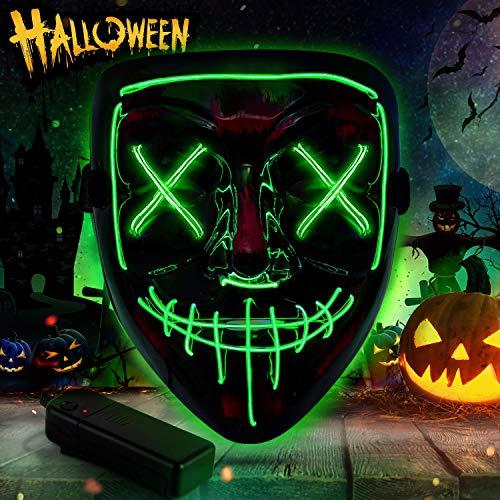 YQHbe Halloween Maschere, LED Maschere Halloween Festa Maschera Purge Halloween LED per Festival Cosplay Costume Halloween Noël con 3 modalità Adulti e Bambin