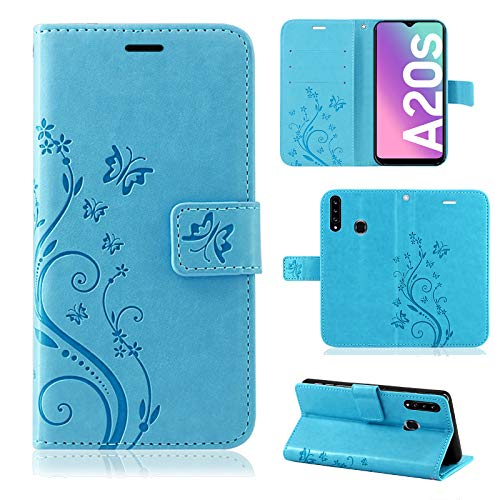 betterfon Samsung Galaxy A20s hülle handyhülle Samsung A20s mit Magnetverschluss/Kartenfächer für Samsung Galaxy A20s Blume Blau