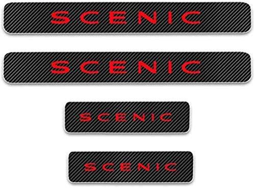 HAOHAO Anti-Kratz-Platte für Autoschwelle für Passend für 4 Stück Externes Carbon-Faser-Leder-Auto Kick-Platten Pedal for Renault Scenic, Einstieg Willkommen Pedal-Tritt Scuff Threshold Bar Prot.