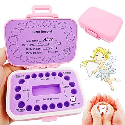 Baby Teeth Keepsake Box, pp Children Kids Tooth Storage Holder Organizer Printed in English to Keep The Child-Wood Memory (Pink)