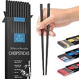 Zulay (10 Pairs) Fiberglass Chopsticks - Premium Japanese Chopsticks Reusable & Durable Design - Non Slip Chop Sticks With Textured Tips For Home & Restaurant (Black)