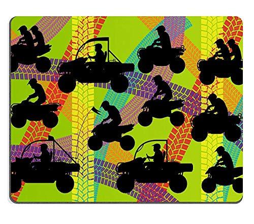 Mauspad Naturkautschuk Mousepad All Terrain Fahrzeug Quad Motorräder Fahrer Illustration Sammlung auf bunten Sommer Reifen Track Hintergrund