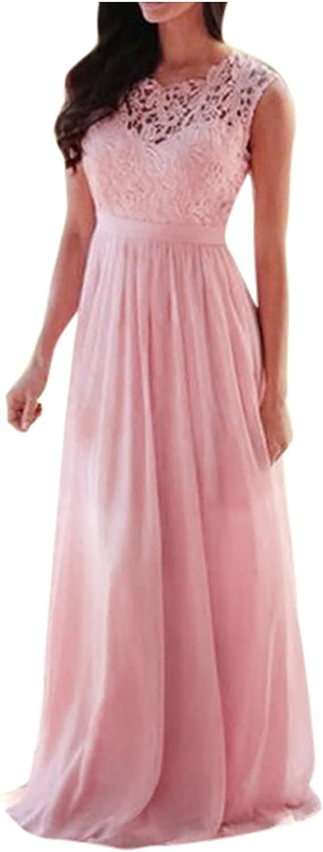 VISOEP Women Lace Applique Coral Bridesmaid Dresses Sleeveless Wedding Guest Maxi Formal Dress