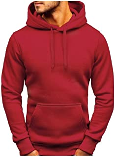 neveraway Men Hooded Outwear Basic Pullover Solid Color Tracksuit Top