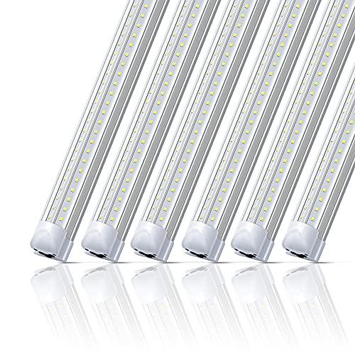 LED Shop Light 2FT 20W,Monios-L Linkable Utility Ceiling Lights,V-Shaped 2500lm 5000K Daylight,T8 Integrated Fixtures LEDs Tubes, Garage Lighting for Workshop,Work Bench,Basement,Plug & Play 6-Pack