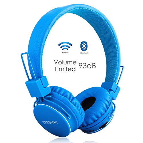 Volume Limited Wireless Bluetooth Kids Headphones, Termichy wireless/wired Foldable Stereo over-Ear headsets with music share port and Built-in Microphone for calling, children Bluetooth Earphones for smartphones PC music gaming. Blue