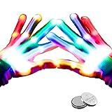 lenbest LED Handschuhe, 5 Farben & 6 Modi leuchtende Handschuhe , Skeletteffekt LED Handschuhe...