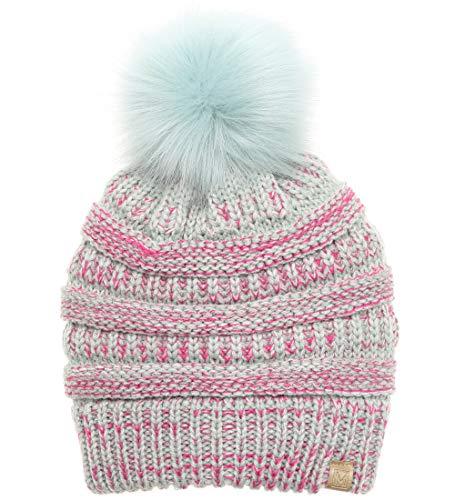MIRMARU Kids Boys & Girls Winter Soft Warm Knitted Beanie Hat with Faux Fur Pom Pom for Ages 7-12 (Marled Mint)