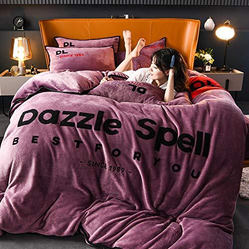 Cama de franela de cuatro piezas Funda nórdica con sábana ajustable de vellón de doble cara de invierno adecuada para una sola cama doble king-gray_purple_Quilt_cover: _220cm * 240cm (4 piezas)