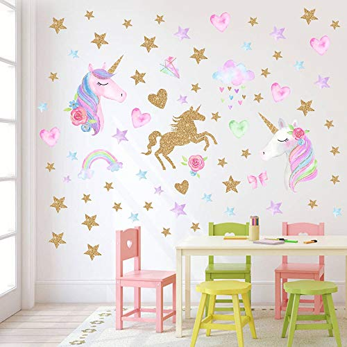 AIYANG Unicornio Wall Decals Rainbow Unicornio Pegatinas de Pared Pegatinas de Estrellas Corazones del Amor para Niño Niña Dormitorio Decoracion (Unicornio-1L)