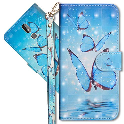 MRSTER Nokia 3.2 Handytasche, Leder Schutzhülle Brieftasche Hülle Flip Hülle 3D Muster Cover mit Kartenfach Magnet Tasche Handyhüllen für Nokia 3.2. YX 3D - Butterfly Spring
