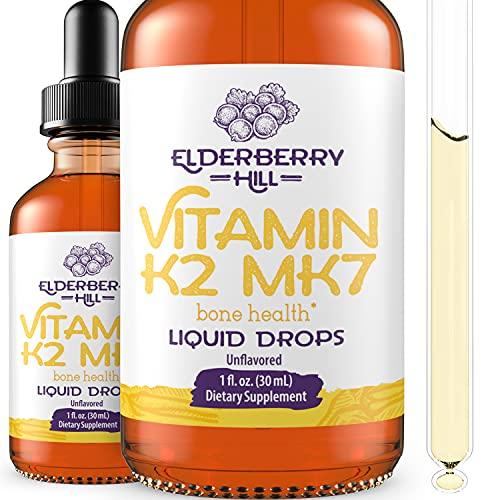Vitamin K2 MK7 Liquid Drops for Bone Density, Healthy Heart, Immunity - Vegan, Keto and Non GMO - Fast Absorption for Men, Women, Children 60 Servings 1oz