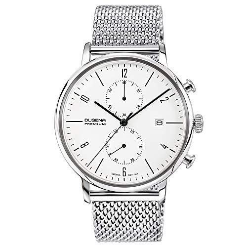 DUGENA Herren-Armbanduhr 7090239 Dessau, Chronograph, weißes Zifferblatt, Edelstahlgehäuse, Hart-Acrylglas, Milanaiseband, Schiebeverschluss, 3 bar