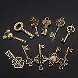 MJJEsports 11Pcs Mixte Antique Vtg Vieux Look Fleuri Bronze Skeleton Keys Lot Pendentif Coeur Fantaisie Décorations