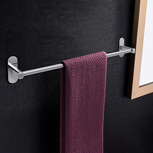 iKINLO Edelstahl Polymerbeschichtung Rostfrei Handtuchhalter für Bad und Zimmer ohne Bohren Badetuchstange 60CM Selbstklebend Handtuchstange silbere Starke Klebrigkeit (Tragfähigkeit: 5 KG)
