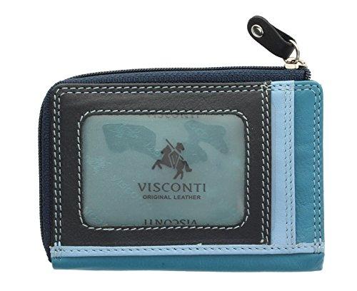 Visconti Colección Rainbow PHI PHI Monedero Delgado de Tarjetas de Crédito RB110 Azul Multi