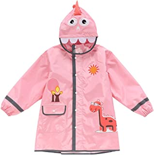 Duanguixia Children's Raincoat, Boys and Girls Reflective Dinosaur Raincoat, with a Bag for Three-Dimensional Kindergarten Children Baby Poncho