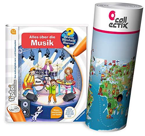 tiptoi Ravensburger Buch - Alles über die Musik + Kinder Wimmel Weltkarte, Kinderlieder, Lieder, Singen
