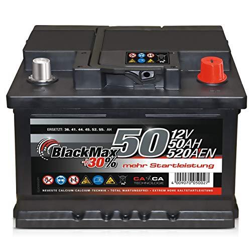 Autobatterie 12V 50Ah 450A/EN BlackMax Starter 30{7532ae11b54252f733295e3f384e1f66d311422e7b042dc5603802f39c65ff68} mehr Leistung ersetzt 36Ah 41Ah 44Ah 45Ah