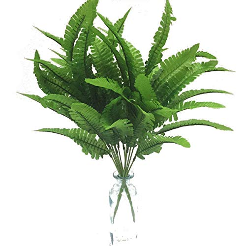 Artfen Artificial Plants 2pcs Persian Leaves Artificial Shrubs Leaves Faux Shrubs Simulation Greenery Bushes Artificial Flower Home Garden Office Verandah Wedding Decor 17 inch high