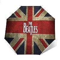 最新の人気の傘 自動開閉式折りたたみ傘 音楽The Beatles 傘 防風、防水および紫外線抵抗、持ち運びが簡単で、パーソナライズがいっぱい 学校、旅行、買い物、買い物、仕事、クール時代をリードする