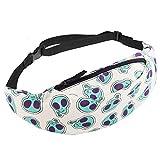 whatUneed Sports Hiking Running Belt Waist Bag,Fashion Travel Fanny Bag Super Lightweight for Travel Waist Pack (Alien Peace)