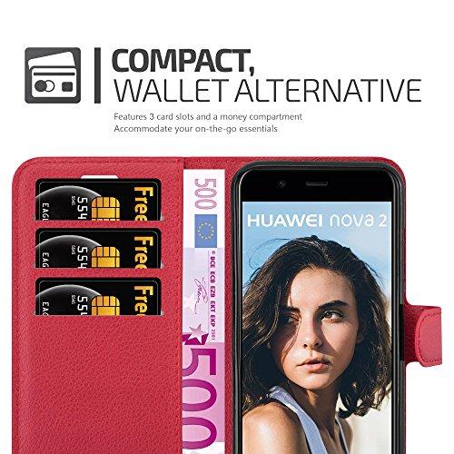 Cadorabo Hülle für Huawei NOVA 2 - Hülle in Karmin ROT – Handyhülle mit Kartenfach und Standfunktion - Case Cover Schutzhülle Etui Tasche Book Klapp Style - 3