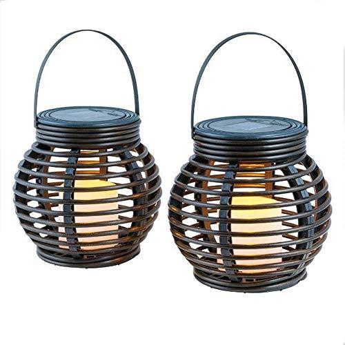 ARONTOME Solarleuchten, Gartenkerzenlaternen Solarlaterne Im Rattan Stil Mit Flammenloser Kerzenlampe Dekorative Gartenlicht Tischplatte Oder Hängend (2PCS)