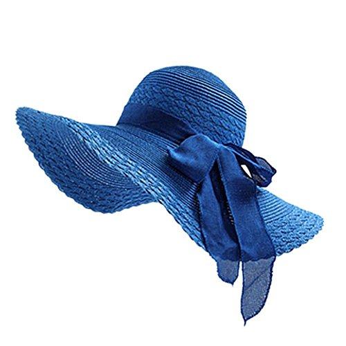 Drawihi Drawihi Damen Sonnenhut Sommerhut UV-Schutz Hüte Wide Rand Strandhut Mützen Strohhut (Blau) 56-58 cm