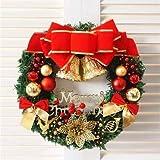 Dracol - Corona de Navidad decorativa de 30 cm para puerta, guirnalda colgante de ratán con campanas de árbol de Navidad, corona decorativa para casa, festivales, fiestas, 1 unidad