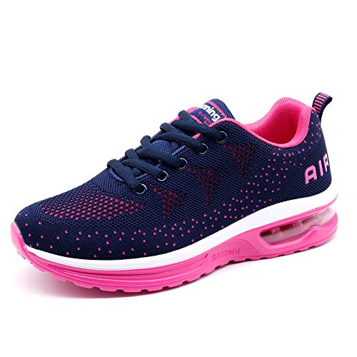 Running Shoes for Women Men Breathable Tennis Sport Air Cushion Cross Training Walking Shoes Navy Rose,5.5