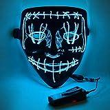 Led Light Up Mask, ValueVinylArt Scary LED Halloween Mask Cosplay Mask Purge Mask for Halloween Festival Party - Blue