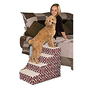 Pet Gear Pet Step IV Pet Stairs, 4-Step for Cats/Dogs, Portable/Lightweight, Sturdy, Dark Cranberry, for Pets up to 50 pounds (PG9640TDC)