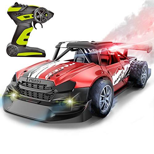 Alloying Mist Spray Remote Control Car- Alloying Car Body Real 2.4GHZ Remote Control High Speed Car Toy,Mist Spray Racing Mode, Led Light Mist Spray Engine(Red)