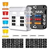 Nilight - 50055F 6 Way Blade Fuse Block 6 Circuits with Negative Bus Fuse Box Holder with LED Indicator ATO/ATC Fuse Panel Waterproof Cover for 12V Automotive Cars Marine Boats RVs Trailers
