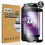 Owbb [2 Pezzi] Nero Vetro Temperato Pellicola per Motorola Moto X4 Full Coverage Protettiva Protezione 9H Durezza 99% Alta Trasparente