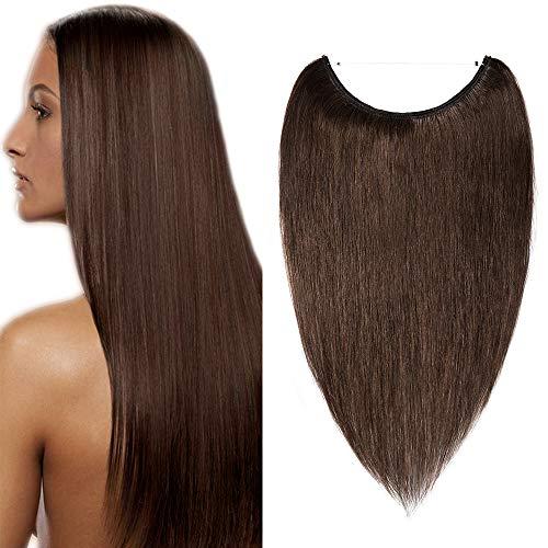 SEGO Extension Capelli Veri con Filo Invisibile Fascia Unica Castano 40cm 60g Capelli Umani Naturali 100% Remy Human Hair Lisci #4 Marrone Medio