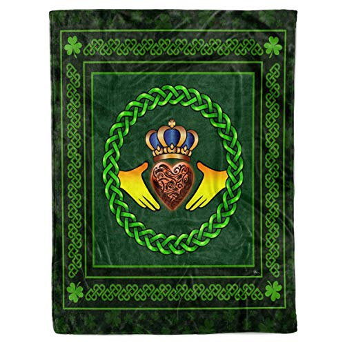 Irish Claddagh Quilt Pattern Blanket Comforters with Reversible Cotton King Queen Full Twin Size Celtic Trinity Knot Quilted Birthday Gifts for Men Women Dad Mom Boys Girls