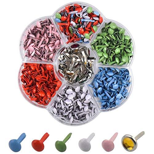 320 Piezas Mini Brads Multicolor Sujetadores de Papel, Scrapbooking Brads Tachuelas de Metal, Redondos Encuadernadores Mini clavos Clips para Manualidades Hechas a Mano DIY